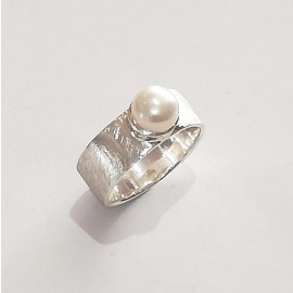 "Silberring ""Brush-pearl"""