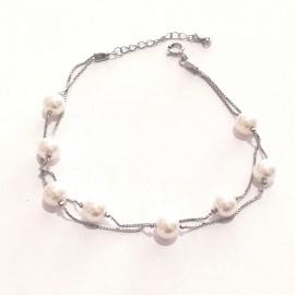 """Silberarmband doppelreihig mit Perlchen """"Fine pearl-S"""""""