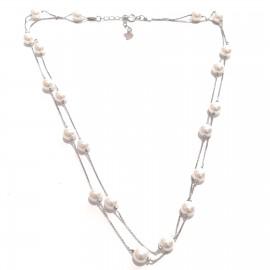 """Silberkette, doppelreihig mit Perlchen """"Fine-pearl"""""""